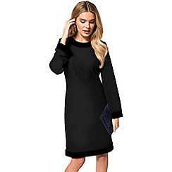 HotSquash - Black crepe boat neck tunic dress with velvet