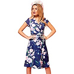 HotSquash - Flower garden cap sleeve jersey wrap dress