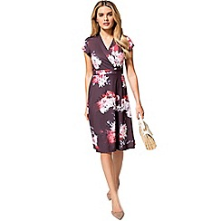 HotSquash - Lily print cap sleeve jersey wrap dress