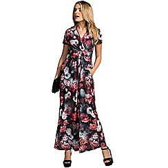 HotSquash - Rose delight print short sleeved maxi dress