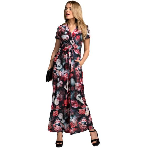 dress Rose HotSquash maxi print sleevesd delight short ZffqxwdPY