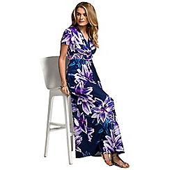 HotSquash - Navy lilies short sleeved empire line maxi dress