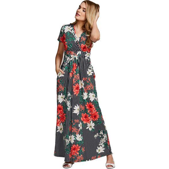 floral Pin HotSquash short striped sleevesd dress maxi TETnCWO