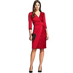 HotSquash - Red v neck lace detail faux wrap dress