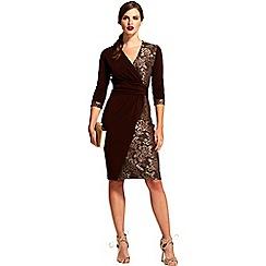 HotSquash - Chocolate v neck lace detail faux wrap dress