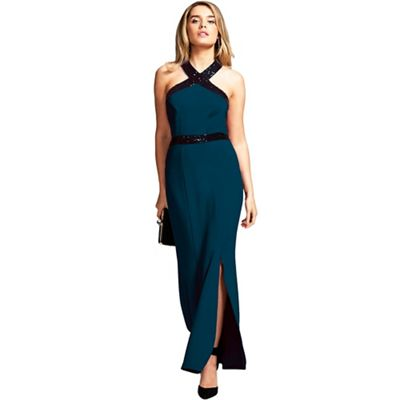 Hot Squash   Teal Sequined Halterneck Maxi Evening Gown by Hot Squash