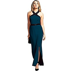HotSquash - Teal sequined halterneck maxi evening gown