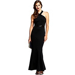 HotSquash - Black sequined halterneck maxi evening gown