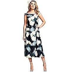 HotSquash - White rose midi sleeveless tea dress