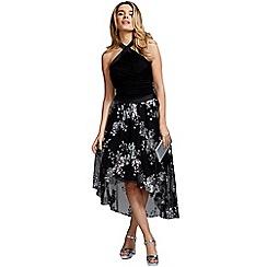 HotSquash - Black sequined halterneck party dress