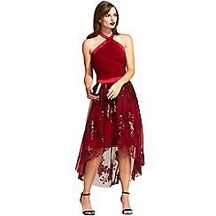 HotSquash - Burgandy sequined halterneck party dress