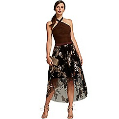 HotSquash - Chocolate sequined halterneck party dress