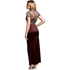 HotSquash - Chocolate short sleeved 'sasha' maxi evening dress