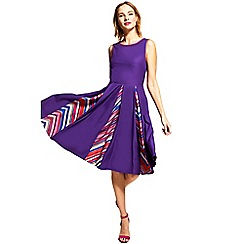 HotSquash - Purple box pleat contrast midi dress