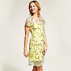 HotSquash - Yellow embroidered cap sleeve dress