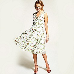 HotSquash - Cream embroidered v neck fit n flare dress