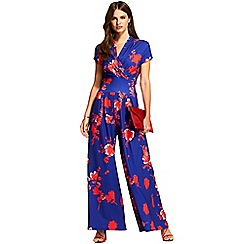 c65a0492fdd HotSquash - Blue and red cap sleeve wideleg jumpsuit