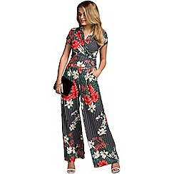 HotSquash - Pin striped floral cap sleeve wideleg jumpsuit