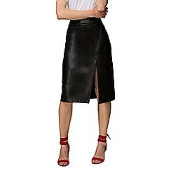 HotSquash - Black Leather Look Wrap Skirt in Clever Fabric