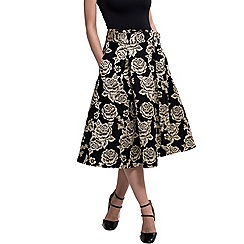 HotSquash - Black/gold brocade midi skirt