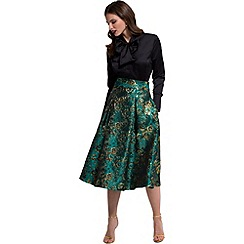 HotSquash - Green/gold brocade midi skirt