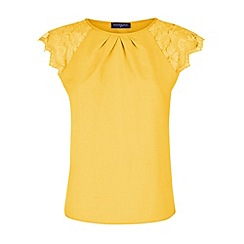 HotSquash - Yellow crepe top with lace sleeves in clever fabric