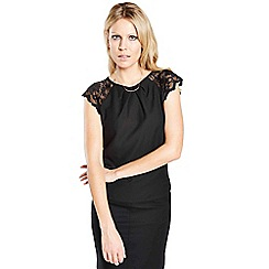HotSquash - Black crepe top with lace sleeves in clever fabric