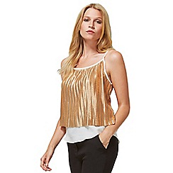 HotSquash - Gold Metallic Pleat Cami Top with Clever Lining