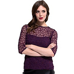 bfd8ccde8b812 HotSquash - Damson flower ribbon 3 4 sleeves top in thinheat