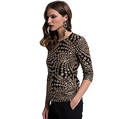 HotSquash - Gold square sequin 3/4 sleeves top with thinheat