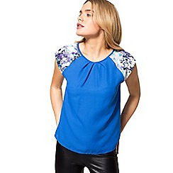 HotSquash - Cobalt floral crepe short sleeved top