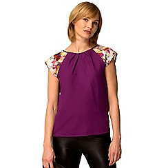 HotSquash - Purple floral crepe short sleeved top