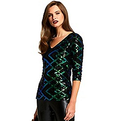 HotSquash - Green and black 3/4 sleeves v neck sequin top