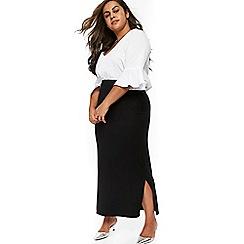 Evans - Black side split maxi skirt