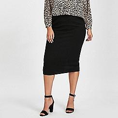 Evans - Black ribbed tube midi skirt