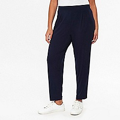 Evans - Navy Jersey Tapered Trousers