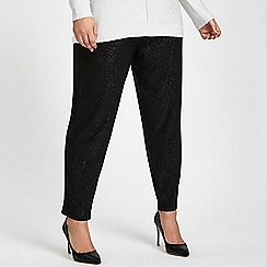 Evans - Black sparkle tapered trousers