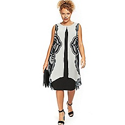 Evans - Monochrome paisley print split shift dress