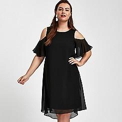 Evans - Black cold shoulder dress