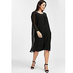 Evans - Black split front embellished shift dress
