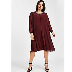 Evans - Red split front embellished shift dress