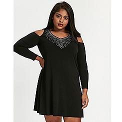 Evans - Black cold shoulder skater dress