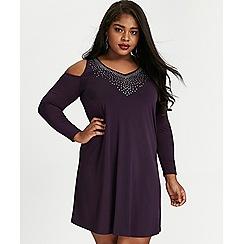Evans - Purple cold shoulder skater dress