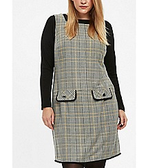 Evans - Grey check pinafore dress