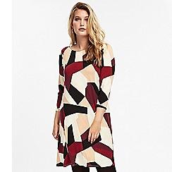 Evans - Multicoloured geometric print shift dress