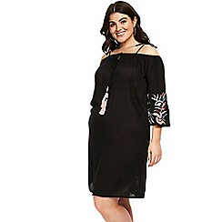 Evans - Black embroidered tunic dress
