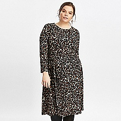 Evans - Brown animal print fit and flare dress
