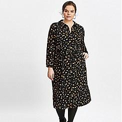 Evans - Black animal print shirt dress