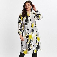 Evans - Black geometric print shirt dress