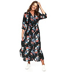 Evans - Black floral maxi shirt dress